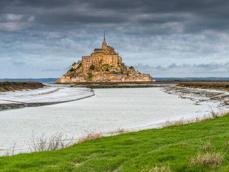Mont-Saint-Michel, France - Mars 9, 2019. View of Le Mont-Saint-Michel in Normandie