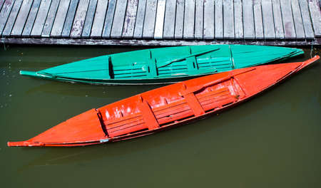 green boat: Green Boat and Red Boat Stock Photo