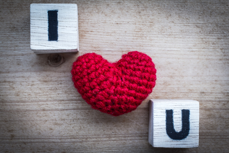 i love u: Alphabet Blocks  love  and Red Heart Shaped Silk