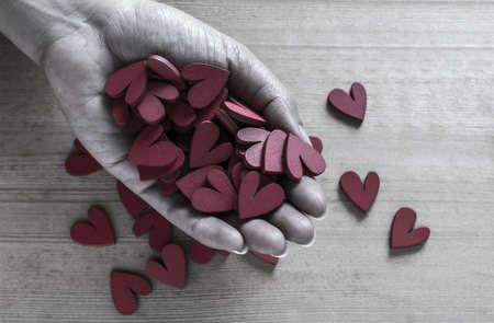 Handful of Red Heart Shaped Blocks