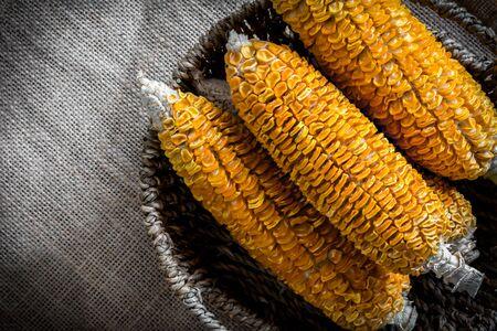 gunny: Dried Corn Stalk in basket on gunny