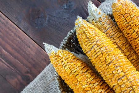 corn stalk: Dried Corn Stalk in basket on wood table