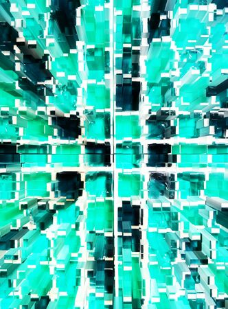 dimension: abstract green mosaic dimension zoom background Stock Photo