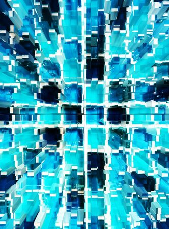 dimension: abstract blue mosaic dimension zoom background Stock Photo