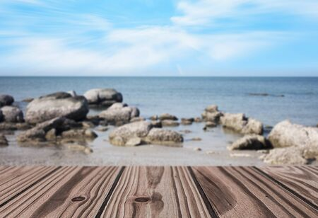 hillock: Wooden Floor with Sea and Hillock  Background