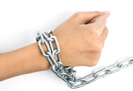 incarcerated: Women hands chained isolated on white background