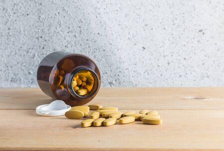 medicine background: Medicine  on wood background