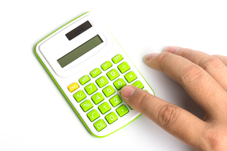 green office: Man hand with Calculator on White Background
