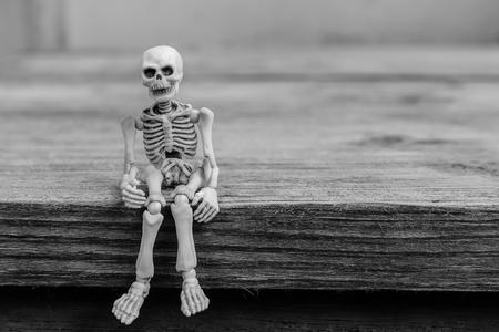 Skeletons sit on wood table