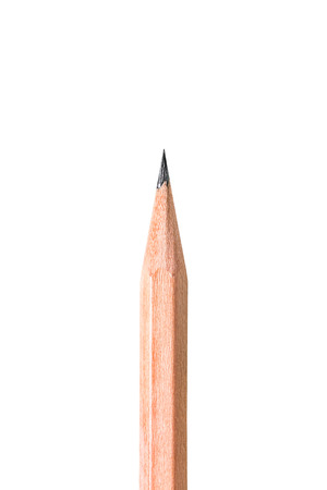 sharp pencil: Close up of sharp pencil point isolated on white background