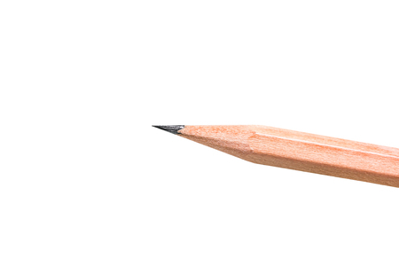 pencil point: Close up of sharp pencil point isolated on white background