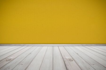 wood wall texture: Cement Wall Painted Yellow Color and Wood Floor Texture Background , room interior design Stock Photo