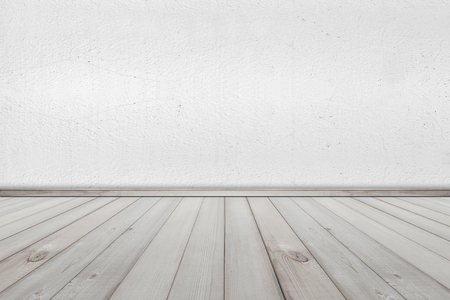 white wood floor: White Cement Wall and Wood Floor texture background