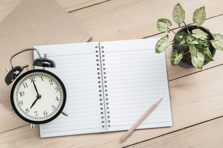pencil plant: Notebook, pencil, retro clock and plant on wood table background Stock Photo