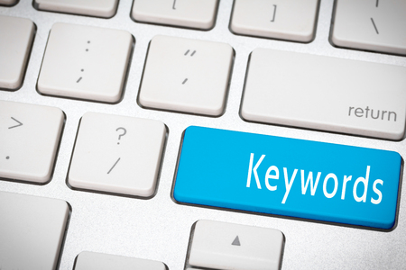 keywords: Blue keywords button on the keyboard Stock Photo