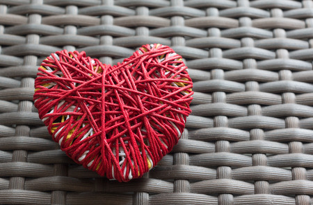 i love you sign: Red heart yarn on weave chair