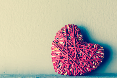 i love you sign: Red heart yarn , vintage tone