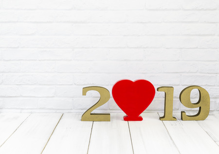 2019 new year and heart  on white wood table over white background with copy space , love concept Stock Photo