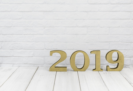 2019 new year on white wood table over white background with copy space Stock Photo