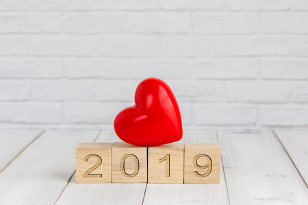 heart on 2019 new year block ,  love concept Stock Photo