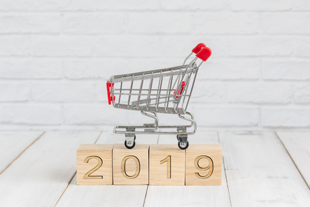 trolley on 2019 new year block ,  shopping concept