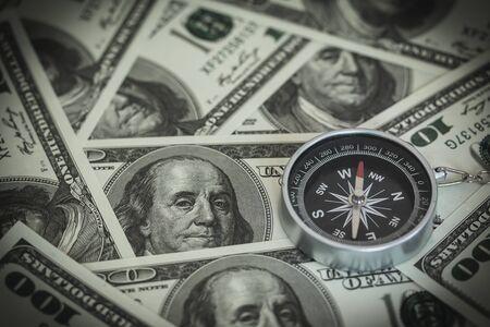 Compass with 100 Dollars Bank Notes Stock fotó