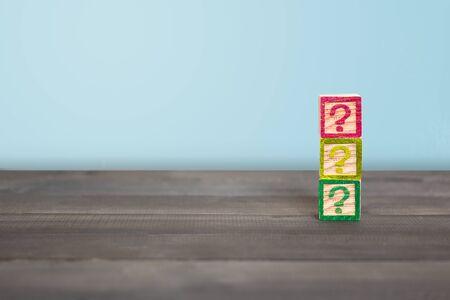 Question mark block on wood table ,  Problem Concept Stock fotó