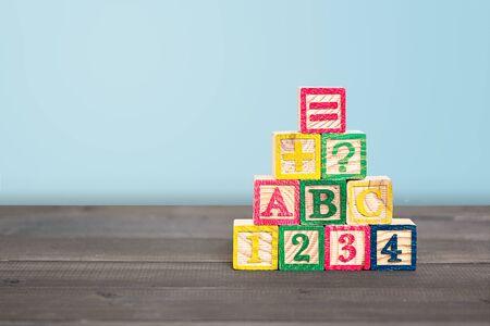 Wooden Alphabet Blocks on wood table
