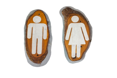 The male and female figure that is the toilet sign in white color on wooden texture photo
