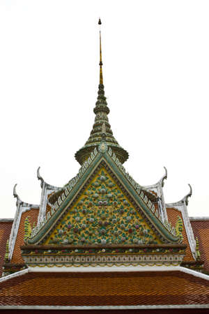 bedeck: church shape Thai roof decorates with the glazed tile is a flower ,