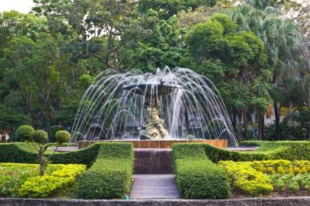 Fountain in public park in Bangkok Thailand