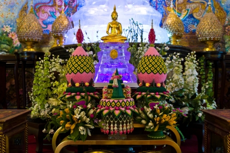 invents: BANGKOK-MARCH 5  Set of altar table arrangement follows the belief of Thai at Sages temple on March 5, 2013 in Bangkok