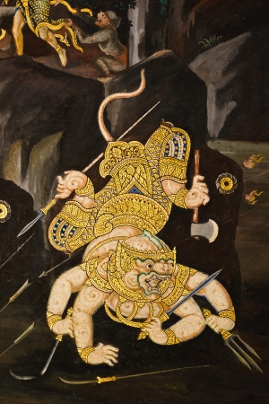 Hanuman fighting pose the mural (no restrict in coppy) at Wat Phra Keaw on April 18,2013in Bangkok. Stock Photo - 19377435