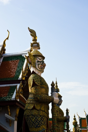 invents: BANGKOK APRIL 18: Thai giant in front of the chruch at Wat Phra kaew on April 18, 2013 in Bangkok. Stock Photo