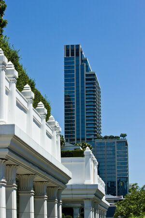 BANGKOK MAY 8  Modern building on blue sky background on May 8,2013 in Bangkok  Publikacyjne