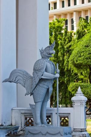 BANGKOK MAY 8  Fairy tale bird stucco name is  Nok Tuntima  at National museum on May 8,2013 in Bangkok