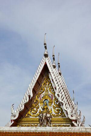 BANGKOK MAY 11  Arts on gable chruch are Indra rides the three-headed elephant at Laksi temple on May 11,2013 in Bangkok