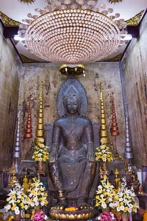 THAILAND APRIL 30: Buddha image Ceylon arts style at Hna pra men temple on April 30,2013 in Ayutthaya province Thailand