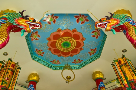 THAILAND NOVEMBER 15:Chinese style painting on cieling and dragon at Wat mai temple   on November 15,2012 in Patumthani province  Thailand.