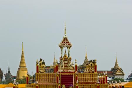BANGKOK MAY 22: Thai architecture urn pack relics of Buddha in Visakha day at Sanam-Luang on May 22,2013 in Bangkok. Publikacyjne