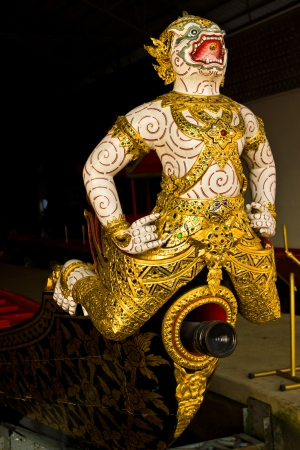 THAILAND - FEBRUARY 12 :His Majestys Warship ancient head portion,Thai name is KRABI PRAB RAN RON at royal yacht museum on February 12,2013 in Bangkok.