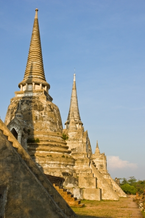 THAILAND - MARCH 19 : Three ancient pagoda and blue sky at history park on March  1,2013 in Ayutthaya Province Thailand.