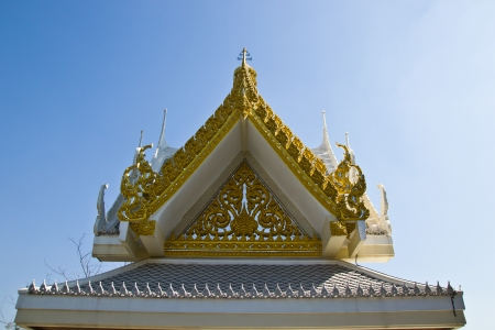 THAILAND - JANUARY 18 : The gable and gold stripes created with donated by people, norestrict in coppy or use at Wat Ngornkai on January  18,2013 in Samutsakorn Province Thailand. Publikacyjne