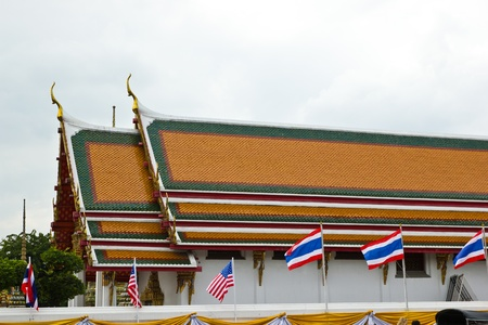 BANGKOK NOVEMBER 19 : Flag decoration welcomes coming to visits of The United States of America president at Wat Pho on November 19, 2012 in Bangkok.