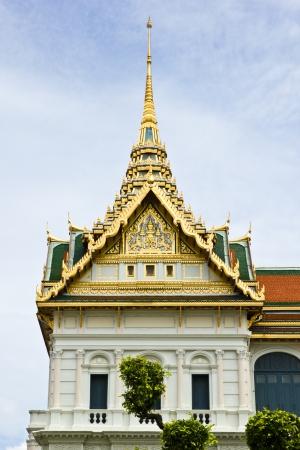 BANGKOK JULY 13: Side building portico Jakri royal place Thai high class architecture at Grand Palace (Wat Pra Keaw) on July 13, 2013 in Bangkok.