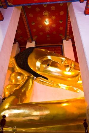 THAILAND SEPTEMBER 1  Golden Buddha lie down posture under construction at Wat Phra Norn Jaksi on September 1, 2013 in Singburi Province Thailand