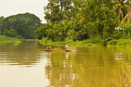 singburi: Something the fishry for support oneself of villagers at the river in Singburi Province Thailand  Stock Photo