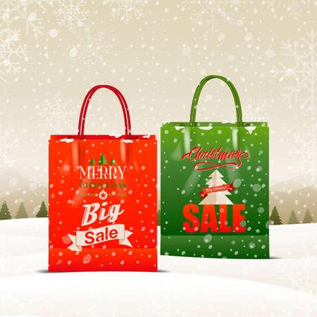 shopping sale: Merry Christmas  , shopping bag, sale, vector Illustration
