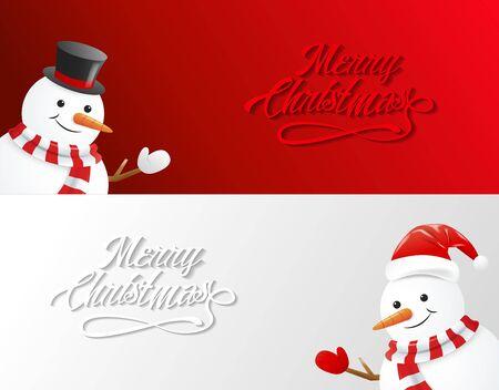 snowfall: Greeting card with snowman and snowfall, Merry Christmas,vector Illustration