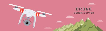 taking video: Remote aerial drone with a camera taking photography or video recording . landscape background. Flat design. Illustration
